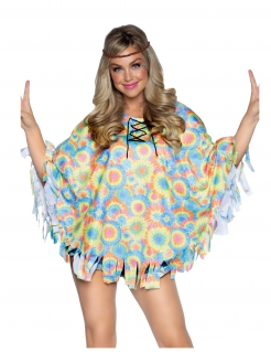 Psychedelischer Hippie-Poncho mit Haarband bunt