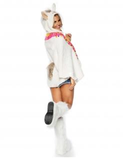 Niedliche Lama-Tunika für Damen Kostüm-Accessoire weiß-bunt