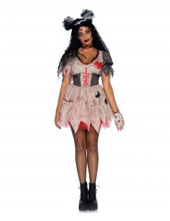 Okkulte Voodoo-Puppe Damenkostüm schwarz-rot-beigefarben
