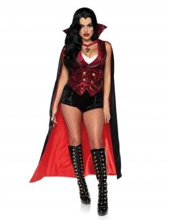 Sexy Vampir-Lady Damenkostüm für Halloween schwarz-rot