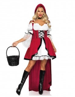 Sexy Rotkäppchen Märchen-Kostüm für Damen rot-weiß-schwarz