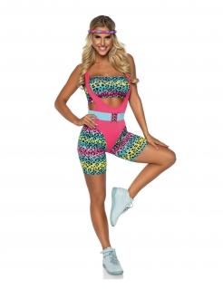 Sexy 80er-Jahre Aerobic-Kostüm für Damen bunt