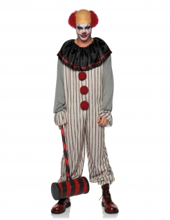 Killer-Clown-Kostüm für Erwachsene mit Perücke grau-schwarz-rot
