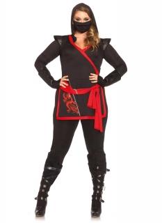 Ninja-Kostüm für Damen Übergröße schwarz-rot