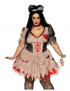 Voodoo-Kostüm für Damen in Übergröße Halloween-Kostüm braun-rot
