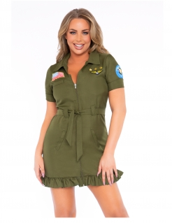 Pilotin-Kostüm für Damen sexy Faschingskostüm olivgrün