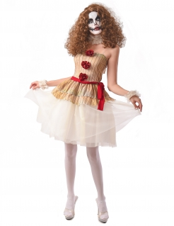 Horror-Clown-Kostüm für Damen Halloween beige-rot-weiss