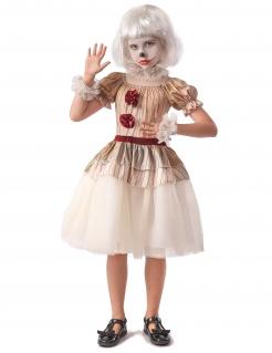 Horror-Clown-Kostüm für Mädchen 5-teilig weiss-beige-rot