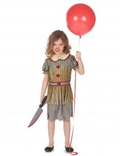 Halloween-Clown-Kostüm für Mädchen grau-rot-braun