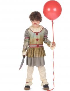 Halloween-Clown-Kostüm für Kinder grau-beige-rot