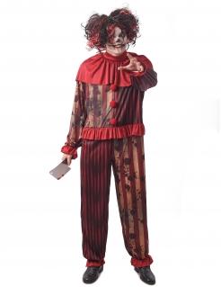 Horrorclown-Herrenkostüm Killerclown-Kostüm für Herren beige-rot