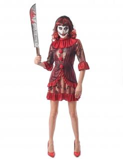 Horrorclown-Kostüm für Damen Killerclown-Kleid rot-beige