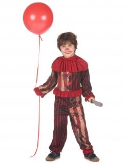 Killerclown Halloween-Kostüm für Jungen rot-schwarz-weiß