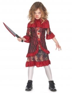 Schauriges Halloween-Clown-Kostüm für Mädchen rot-beige-schwarz