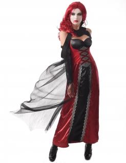 Mysteriöses Vampir-Kostüm für Damen Halloweenkostüm schwarz-rot