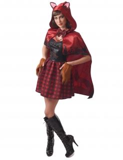 Rotkäppchen-Wolfskostüm für Damen Faschingskostüm rot-schwarz
