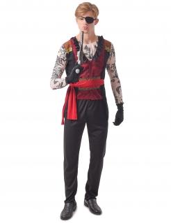 Tätowierter Pirat Herrenkostüm Faschingskostüm schwarz-rot