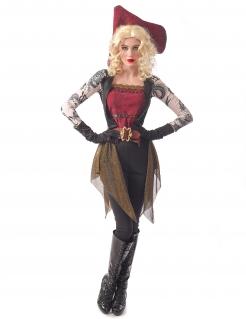 Tätowierte Piratin Damenkostüm Faschingskostüm rot-schwarz-beige