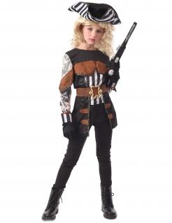 Tätowierte Piratin Mädchenkostüm Faschingskostüm schwarz-braun-weiss
