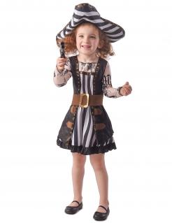 Pirat-Kostüm für Mädchen mit Tatoo-Ärmeln und Streifen schwarz-weiß-braun