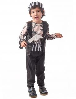 Tätowierter Pirat Kinderkostüm für Jungen schwarz-weiß