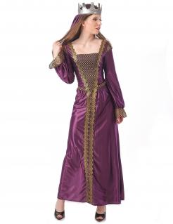 Mittelalterliches Prinzessin-Kostüm für Damen Faschingskostüm violett-gold