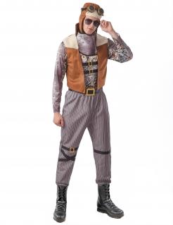 Steampunk-Pilot-Kostüm für Herren Faschingskostüm grau-braun
