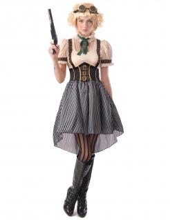 Steampunk-Kostüm für Damen Steampunk-Sheriff Halloween-Kostüm weiss-braun-schwarz