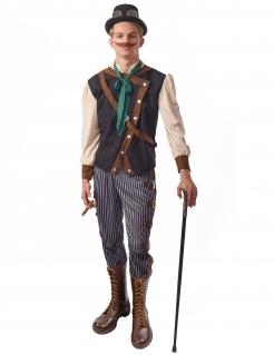 Steampunk-Dandy-Kostüm für Herren Faschingskostüm blau-weiss-braun