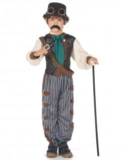 Dandy-Kostüm für Jungen Steampunk Faschingskostüm grau-weiss-braun