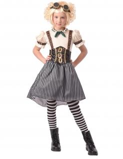 Ausgefallenes Steampunk-Kostüm für Mädchen Halloweenkostüm weiss-schwarz
