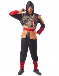 Traditionelles Ninja-Kostüm für Erwachsene Faschingskostüm schwarz-gold-rot