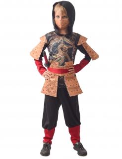 Traditionelles Ninja-Jungenkostüm Faschingskostüm beige-rot-schwarz
