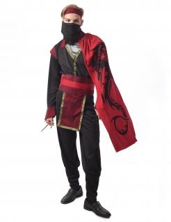 Ninja-Kostüm für Herren Yakusa Faschingskostüm rot-schwarz