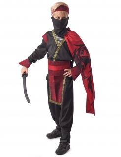 Ninja-Kostüm für Jungen Faschingskostüm Halloweenkostüm rot-schwarz