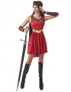 Mittelalterliches Ritterin-Kostüm für Damen Faschingskostüm rot-braun