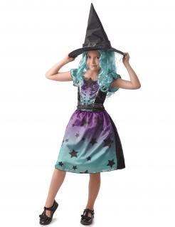 Sternen-Hexe Mädchenkostüm Halloween-Kostüm violett-türkis