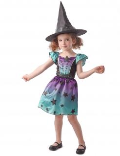 Sternen-Hexe Kostüm für Mädchen Halloweenkostüm blau-lila-schwarz