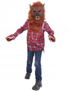Wilder Werwolf Kinderkostüm für Halloween braun-rot-weiß