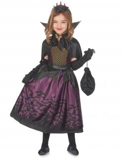 Fledermaus-Vampirin-Kostüm für Mädchen Halloweenkostüm schwarz-violett