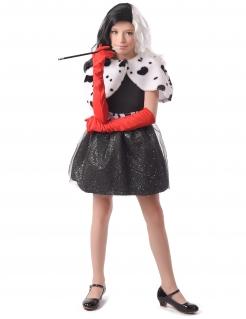 Dalmatiner-Superschurkin Mädchenkostüm schwarz-weiß-rot