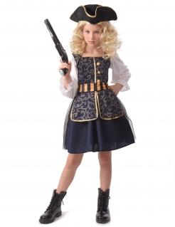 Schickes Piraten-Kostüm für Mädchen Faschingskostüm blau-weiss-gold