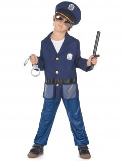 Polizisten-Kinderkostüm blau-schwarz-goldfarben