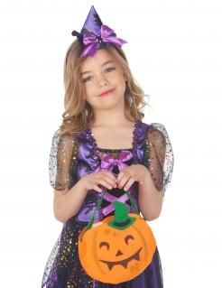 Kürbistasche für Kinder Happy-Halloween orangefarben-grün
