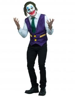 Grinsender Clown-Kostüm für Herren mit Maske Faschingskostüm violett-grün-weiss