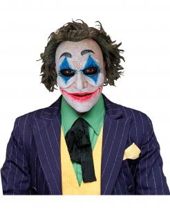 Verrückte Clowns-Maske Halloween-Maske weiss-blau