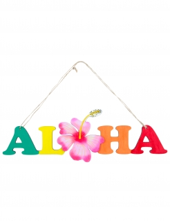 Aloha-Türschild aus Holz Beach-Party bunt 39 cm