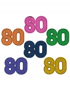 Streuteile 80 für Geburtstag oder 80er-Mottoparty 10 Stückbunt