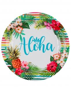 Hawaii-Pappteller Aloha 10 Stück bunt 22,5 cm