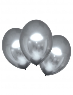 Edle Latexballons mit Satineffekt 6 Stück silberfarben 28 cm